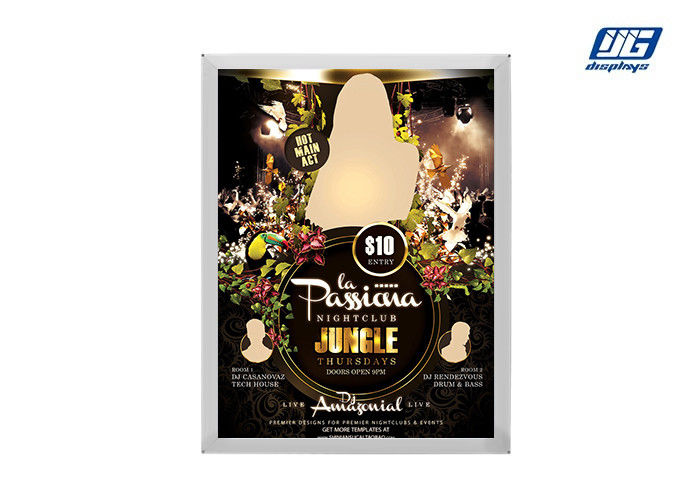 LED Light Source Snap Poster Board 22mm Thickness Silver Aluminum Frame